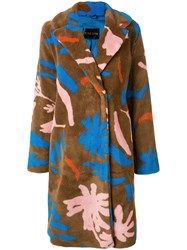 Stine Goya Floral Faux Shearling Coat Brown