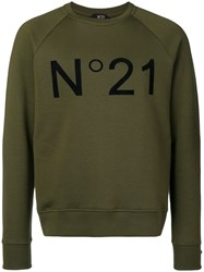 N 21 No21 Contrast Logo Sweatshirt Green