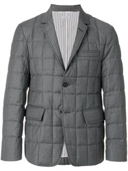Thom Browne Downfilled Classic Single Breasted Sport Coat In Medium Grey Super 130'S Wool Twill Feather Down Polyester Wool