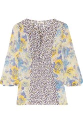 Joie Thistle Printed Silk Blouse Lilac