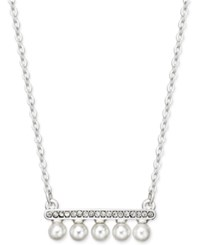 Inc International Concepts Silver Tone Pave And Imitation Pearl Bar Necklace Only At Macy's
