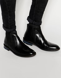 Dune Chunky Chelsea Boot In Black Leather Black
