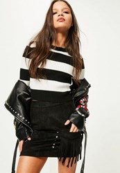 Missguided Petite Exclusive Black Frill Button Detail Mini Skirt