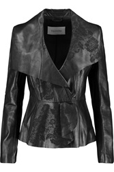 Valentino Lace Embroidered Leather Jacket Black