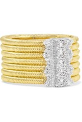 Buccellati Hawaii 18 Karat Yellow And White Gold Diamond Ring 52