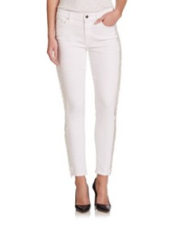 7 For All Mankind Kimmie Fringe Tuxedo Stripe Cropped Jeans Clean White