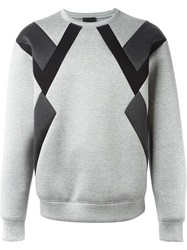 Les Hommes Panelled Sweater Grey