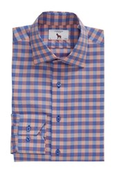 Lorenzo Uomo Big And Tall Trim Fit Check Dress Shirt Blue Orange