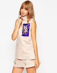 Amie Robertson For Asos Black Funnel Neck Sleeveless Tunic With Embellished Panel Nude