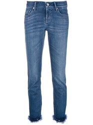 Cambio Feather Hem Slim Fit Jeans Blue