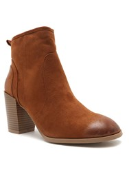 Qupid Wagon Ankle Boot Brown