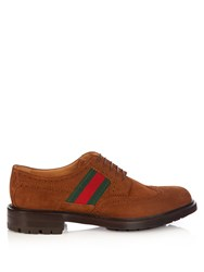 Gucci Web Panelled Suede Brogues Tan Multi