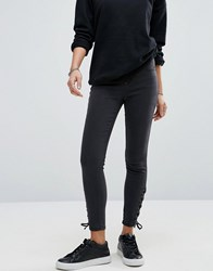 New Look Lace Up Skinny Jeans Black