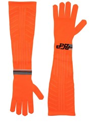 Prada Logo Intarsia Tech Knit Long Gloves Orange