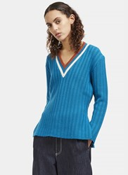 Marni V Neck Ribbed Knit Sweater Blue