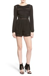 Women's Missguided Plunge Back Long Sleeve Romper