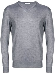 Cruciani Slim Fit V Neck Jumper Grey