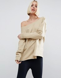 Asos Sweatshirt In Off Shoulder Boxy Fit Stone