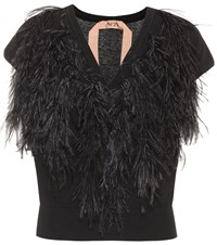 N 21 Ostrich Feather Trimmed Sweater Black
