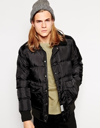 D Struct Padded Bomber Jacket With Faux Shearling Collar Black