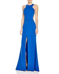 Nicole Bakti Front Slit Gown Royal