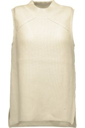 Rebecca Minkoff Alexis Cutout Ribbed Cotton Blend Turtleneck Sweater Off White