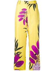 F.R.S For Restless Sleepers Leaf Print Trousers Yellow