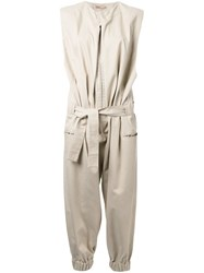 Nehera Pleated Belted Jumpsuit Brown