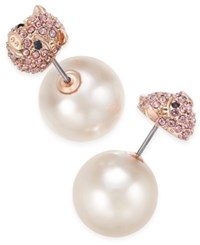 Kate Spade New York Wild Imagination Gold Tone Imitation Pearl Front And Back Earrings Pink Multi