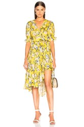 Icons Cha Cha Wrap Dress In Floral Yellow Floral Yellow