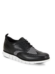 Cole Haan Wingtip Toe Lace Up Shoes Black White