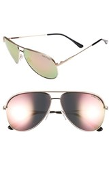 Tom Ford Women's 'Erin' 61Mm Aviator Sunglasses Matte Rose Gold Green Matte Rose Gold Green