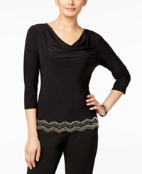 Msk Chevron Beaded Cowl Neck Top Black Gold