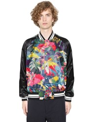 Valentino Tropical Print Satin Bomber Jacket