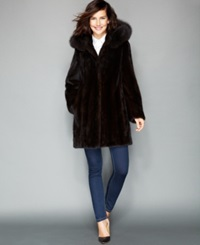 The Fur Vault Fox Trimmed Hooded Mink Coat Mahogany Brown