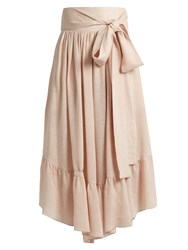 See By Chloe Waist Tie Gathered Gauze Culottes Nude