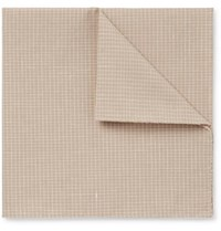 Oliver Spencer Kersley Micro Checked Cotton And Linen Blend Pocket Square Ecru