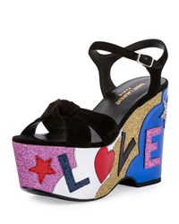 Saint Laurent Candy Love Wedge Sandal Nero Multi Noir