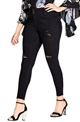 City Chic Plus Size Women's Asha Ripped Skinny Jeans Black