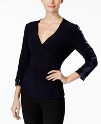 Msk Sequined Faux Wrap Top Deep Navy