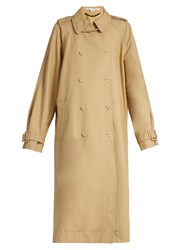 Stella Mccartney Side Slit Double Breasted Trench Coat Tan