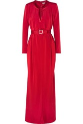 Alexis Mabille Crystal Embellished Belted Crepe Gown Red