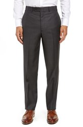 John W. Nordstrom Torino Traditional Fit Flat Front Solid Wool Trousers Black