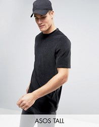 Asos Tall Longline T Shirt In Towelling Fabric In Black Black