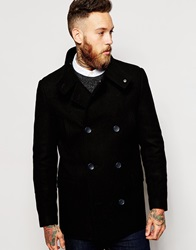 Asos Wool Peacoat With Funnel Neck In Black