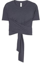 Varley Ruth Cropped Stretch Jersey Wrap T Shirt Navy