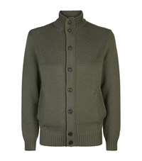 Gieves And Hawkes Cotton Wool Cardigan Green