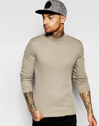 Asos Rib Extreme Muscle Long Sleeve T Shirt With Turtleneck In Brown Brown