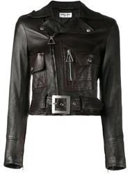 Saint Laurent Cropped Biker Jacket Brown