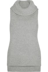 Michael Michael Kors Merino Wool And Cashmere Blend Turtleneck Top Gray